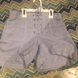 These are white and light blue tie up shorts!